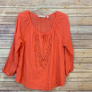 LC Coral Top embroidered detail down the front